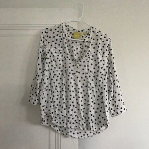 Anthropologie Polka Dot Blouse Size S
